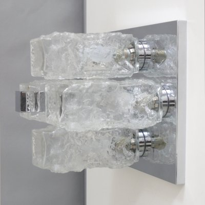 Hillebrand ice glass ceiling lamp, 1960s