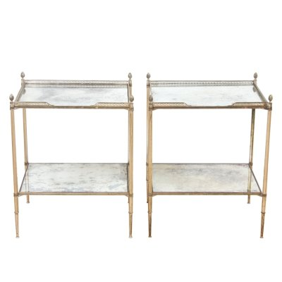 Pair of French 1960s Silver Plated Brass & Eglomise Glass Tables