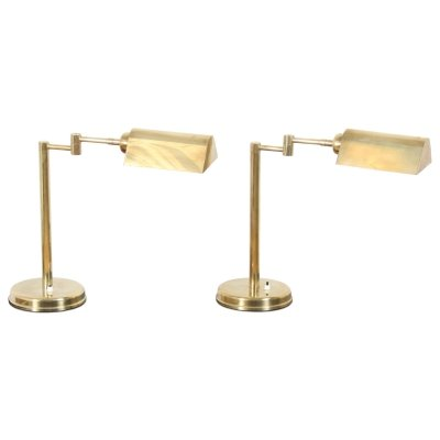Pair of French 1970s Brass Library Lights