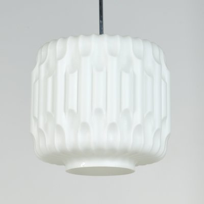 Opaline glass ceiling lamp by Napako, 60's