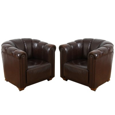 Pair of French 1950s Leather Club Chairs