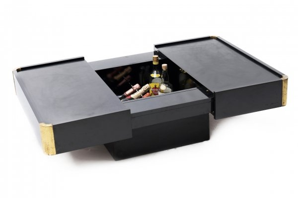 Willy Rizzo Coffee Table with hidden bar, 1970s
