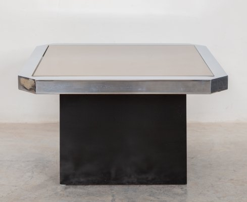 Geometric 1970s coffee table with Smoke & silver tone mirrored surface