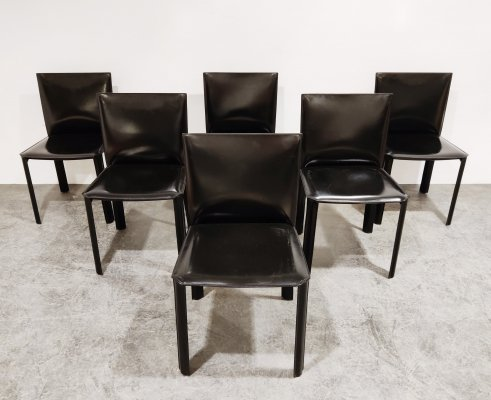 Set of 6 Black leather dining chairs by De Couro Brazil, 1980s