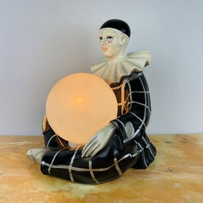 Vintage French ceramic table lamp Pierrot by Regal, 1960s