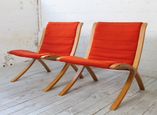 Pair of Ax lounge chairs by Peter Hvidt & Orla Mølgaard Nielsen for Fritz Hansen, 1970s