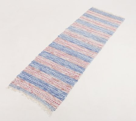Vintage Scandinavian Hand Woven Recycled fabric rug, 1980's