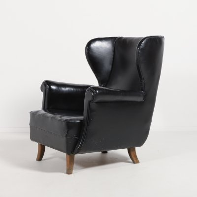 Danish Modern Architectural Wingback lounge armchair, 1950's
