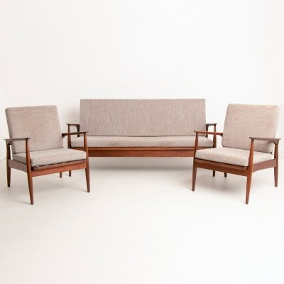 British Midcentury Afrormosia Living Room Suite by Dennis Young for George Stone, 1960s