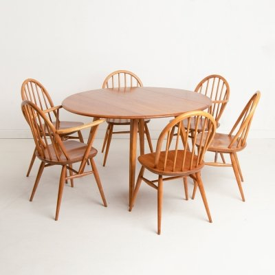 Vintage Light Elm Drop Leaf Dining Table & Chairs by Ercol