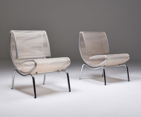 Post-modern pair of easy chairs in chrome & plastic wire, 1960s