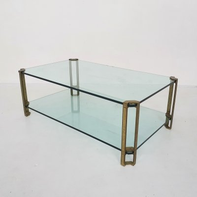 Peter Ghyczy for Ghyzcy brass & glass coffee table, 1970's