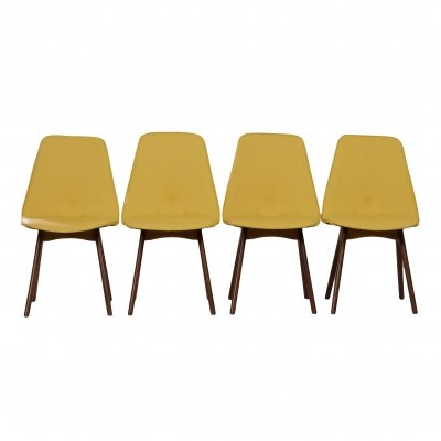 Set of 4 Yellow Teak Dining Chairs by Van Os, 1950s