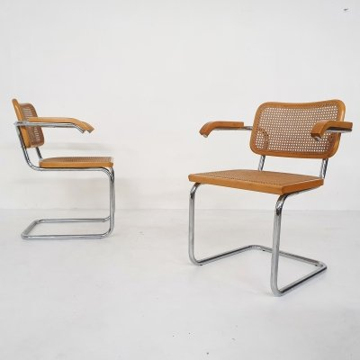 Set of two cantilever 'S64' dining chairs by Marcel Breuer for Cidue, Italy 1970s