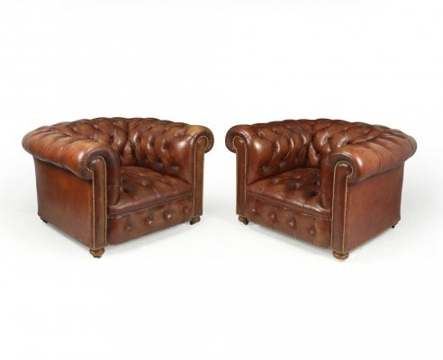 Vintage Leather Chesterfield Club Chairs, 1960s