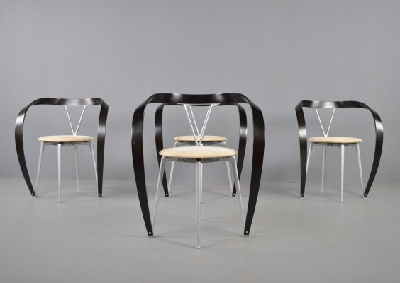 Set of 4 Cassina revers dining chairs by Andrea Branzi, 1993