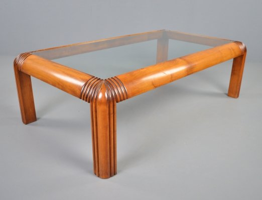 Spanish Valenti coffee table in carved cherrywood, 1970s