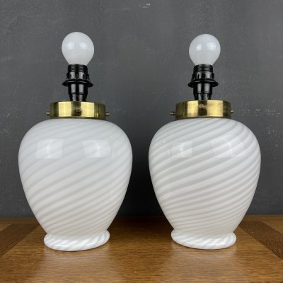 Set of 2 vintage swirl Murano glass table lamps, Italy 70s
