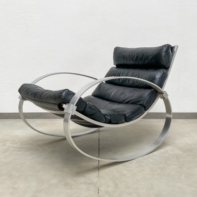 Vintage Leather Rocking Chair by Hans Kaufeld, 1970s