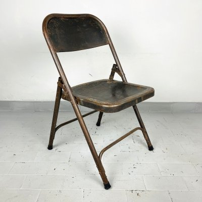 Vintage metal folding chair, Italy 1960s