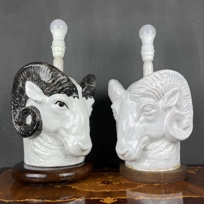 Pair of vintage rare Ram Head table lamps, France 1960s