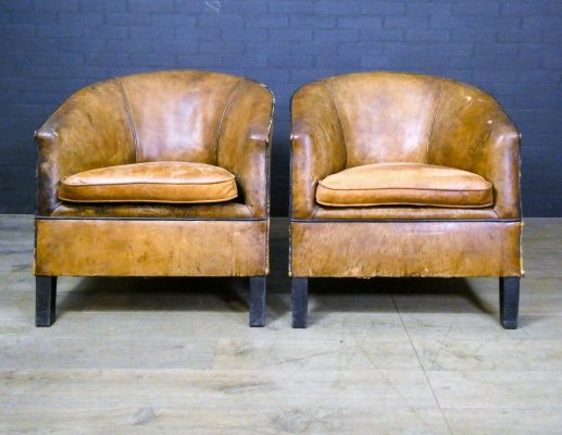 Set of 2 sheep leather vintage armchairs 'Charel' by Bart van Bekhoven