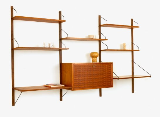 Vintage Danish wall unit by Poul Cadovius for Cado with cabinet & desk shelf