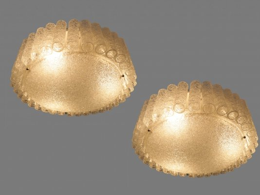 Pair of Doria ceiling lamps with 35 ice glass tubes, 1960s