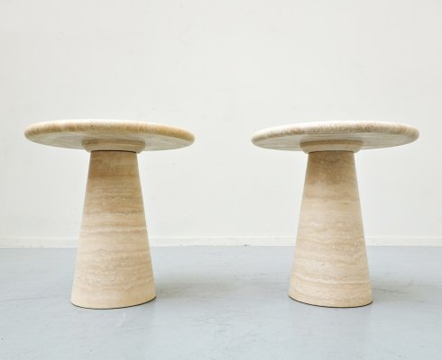 Pair of mid-century Travertine Side Tables, Italy 1970s