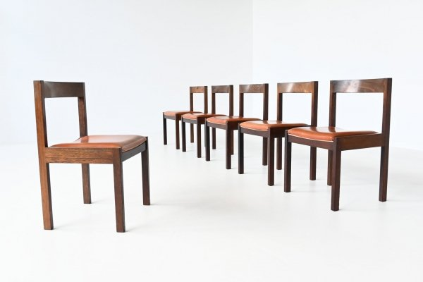 Set of 6 dining chairs in wenge by Gerard Geytenbeek for AZS Meubelen, The Netherlands 1960