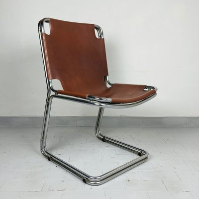 Set of 4 mid-century chrome dining chairs, Bologna Italy 1960s