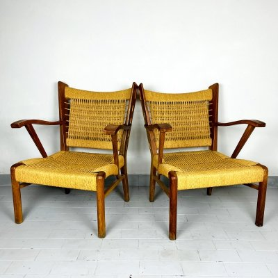Pair of vintage patio lounge rope chairs, Italy 1970s