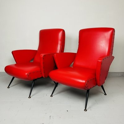 Set of 2 vintage red lounge chairs, Italy 1950s