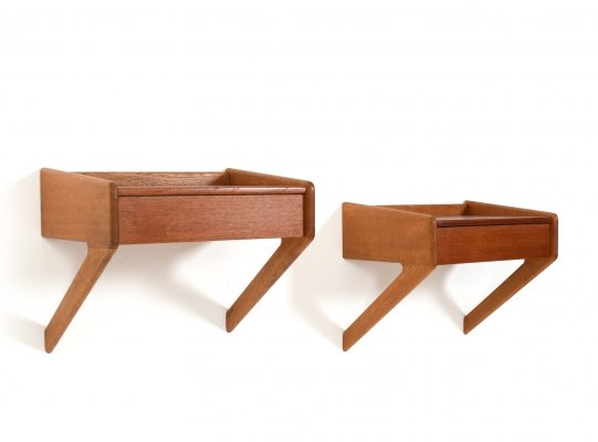 Pair of Mid Century Danish Wall Mounted Nightstands by Øholm