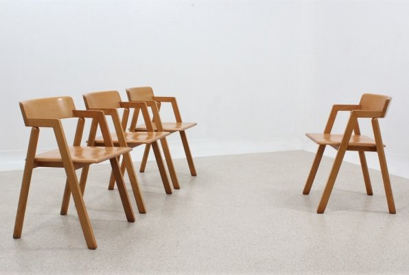 Vintage beech wood chairs by Roberto Pamio & Renato Toso for Stilwood, 1980s