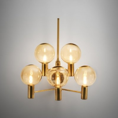 Hans-Agne Jakobsson Brass Wall Lamp with Smoked Glass Shades, Sweden 1960s