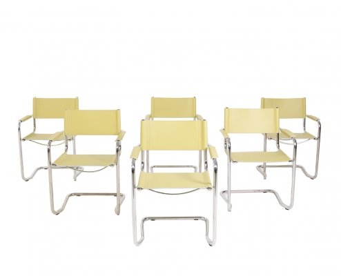 Set of 6 Italian steel & yellow leather chairs, 1970s