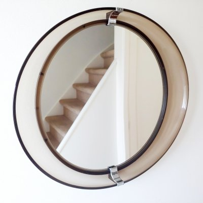 Space Age Design Vintage Oval Mirror by Tiger Plastics Holland, 1970s