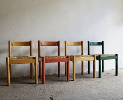 Mixed Colour Carimate Chairs by Vico Magistretti, 1970s