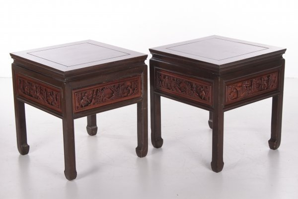 Pair of 20th century Chinese wooden bedside tables