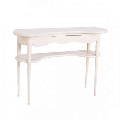 Mid Century Console Table in White Lacquered Wood, 1950s