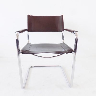 Matteo Grassi MG 5 chrome cantilever chair in brown leather