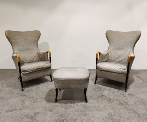 Progetti wingback Lounge Chairs by Umberto Asnago for Giorgetti, 1980s