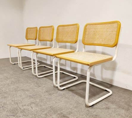 Set of 4 vintage bauhaus dining chairs, Italy 1970s