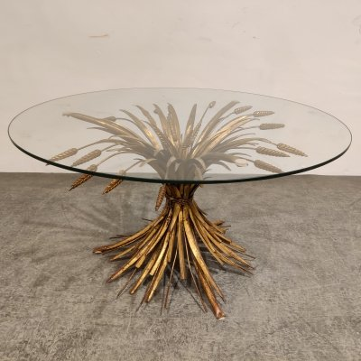 Vintage gilt metal sheaf of wheat coco chanel coffee table, 1960s