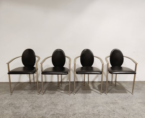 Set of 4 Vintage dining chairs by Belgo chrom, 1980s