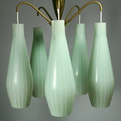 Sputniklamp from the 1950s with 5 gigantic glass cones in Mint