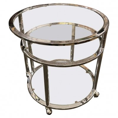 1970s Space Age Steel & Glass Round Italian Openable Trolley Cart