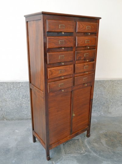 Filing Cabinet in Larch Wood, Italy 1930's
