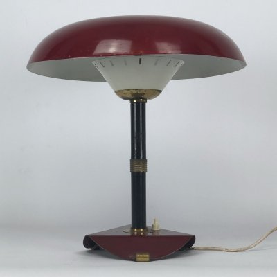 Vintage Italian brass & lacquer table lamp, 50s